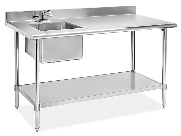 """Stainless Steel Worktable with Sink - 60 x 30"""" - Left H-8966L"""