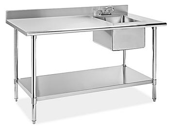 """Stainless Steel Worktable with Sink - 60 x 30"""" - Right H-8966R"""