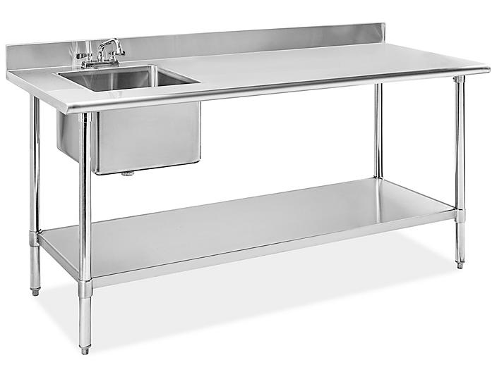 """Stainless Steel Worktable with Sink - 72 x 30"""""""
