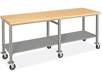 """Mobile Heavy-Duty Packing Table - 96 x 30"""", Maple Top H-9007-MAP"""