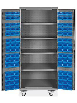 "Mobile Bin Storage Cabinet - 36 x 24 x 84"", 90 Bins"