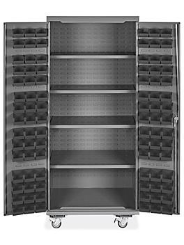 "Mobile Bin Storage Cabinet - 36 x 24 x 84"", 90 Black Bins H-9048BL"