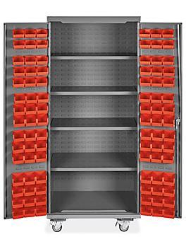 "Mobile Bin Storage Cabinet - 36 x 24 x 84"", 90 Red Bins H-9048R"