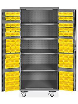 "Mobile Bin Storage Cabinet - 36 x 24 x 84"", 90 Yellow Bins H-9048Y"