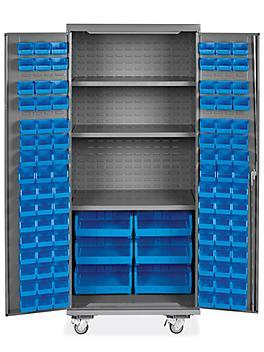 "Mobile Bin Storage Cabinet - 36 x 24 x 84"", 102 Bins"
