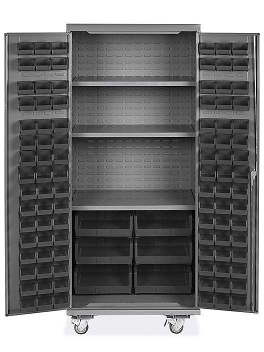 "Mobile Bin Storage Cabinet - 36 x 24 x 84"", 102 Black Bins H-9049BL"