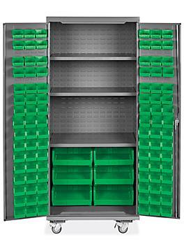 "Mobile Bin Storage Cabinet - 36 x 24 x 84"", 102 Green Bins H-9049G"