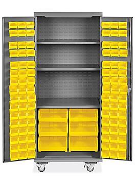 "Mobile Bin Storage Cabinet - 36 x 24 x 84"", 102 Yellow Bins H-9049Y"