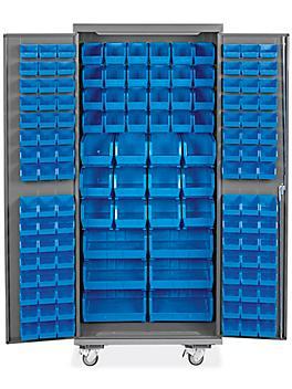 "Mobile Bin Storage Cabinet - 36 x 24 x 84"", 138 Bins"
