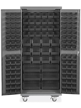 "Mobile Bin Storage Cabinet - 36 x 24 x 84"", 138 Black Bins H-9050BL"