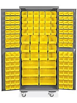 "Mobile Bin Storage Cabinet - 36 x 24 x 84"", 138 Yellow Bins H-9050Y"