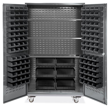 "Mobile Bin Storage Cabinet - 48 x 24 x 84"", 126 Black Bins H-9051BL"