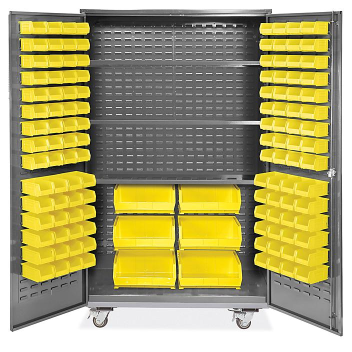 "Mobile Bin Storage Cabinet - 48 x 24 x 84"", 126 Yellow Bins H-9051Y"