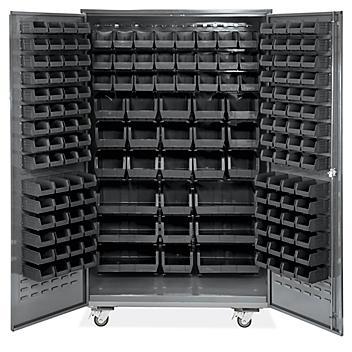 "Mobile Bin Storage Cabinet - 48 x 24 x 84"", 168 Black Bins H-9052BL"