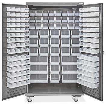 "Mobile Bin Storage Cabinet - 48 x 24 x 84"", 168 Clear Bins H-9052C"