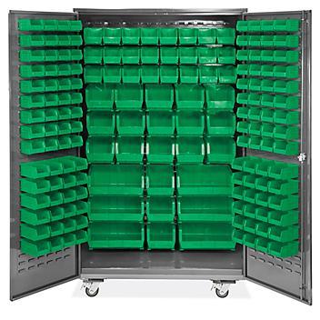 "Mobile Bin Storage Cabinet - 48 x 24 x 84"", 168 Green Bins H-9052G"