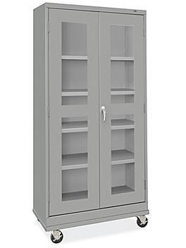 """Clear-View Mobile Storage Cabinet - 36 x 18 x 78"""", Assembled"""