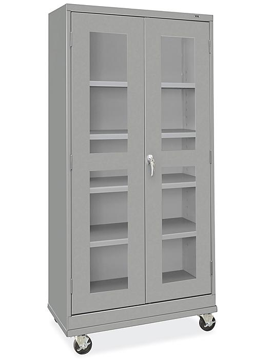 """Clear-View Mobile Storage Cabinet - 36 x 18 x 78"""", Unassembled, Gray H-9090GR"""