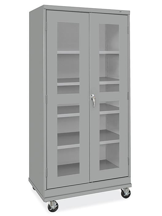 """Clear-View Mobile Storage Cabinet - 36 x 24 x 78"""", Assembled, Gray H-9091AGR"""