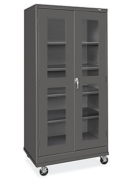 "Clear-View Mobile Storage Cabinet - 36 x 24 x 78"", Unassembled, Black H-9091BL"