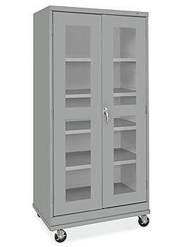 """Clear-View Mobile Storage Cabinet - 36 x 24 x 78"""", Unassembled, Gray H-9091GR"""