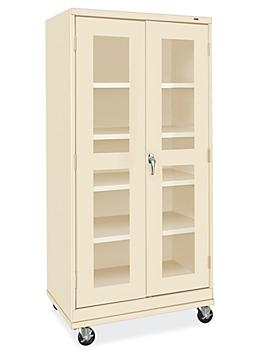 """Clear-View Mobile Storage Cabinet - 36 x 24 x 78"""", Unassembled, Tan H-9091T"""