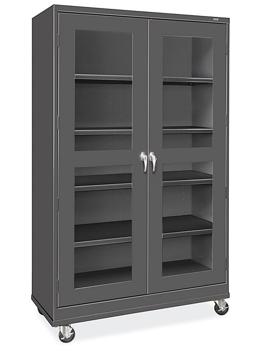 """Clear-View Mobile Storage Cabinet - 48 x 24 x 84"""", Assembled, Black H-9092ABL"""