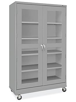 """Clear-View Mobile Storage Cabinet - 48 x 24 x 84"""", Assembled, Gray H-9092AGR"""