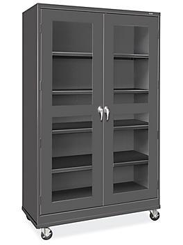 "Clear-View Mobile Storage Cabinet - 48 x 24 x 84"", Unassembled, Black H-9092BL"