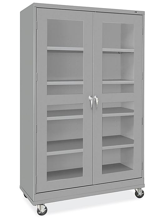 """Clear-View Mobile Storage Cabinet - 48 x 24 x 84"""", Unassembled, Gray H-9092GR"""