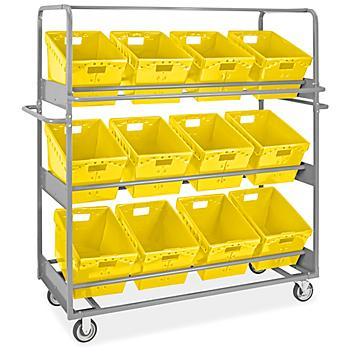 "Tote Picking Cart - 18 x 13 x 12"" Yellow Totes H-9094Y"