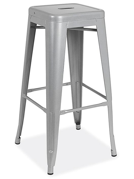 "Industrial Metal Stools - 30"", Silver H-9103SIL"