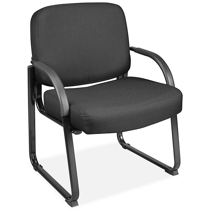 Big and Tall Sled Base Chair with Arms - Fabric, Black H-9128BL