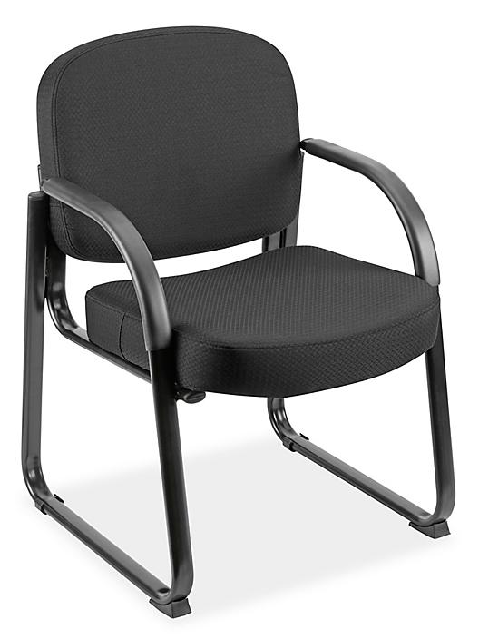 Fabric Sled Base Chair with Arms - Black H-9129BL