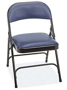 Big and Tall Folding Chairs - Vinyl Padded, Blue H-9136BLU