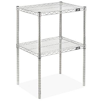 """Two-Shelf Wire Shelving Unit - 24 x 18 x 34"""", Stainless Steel H-9202"""