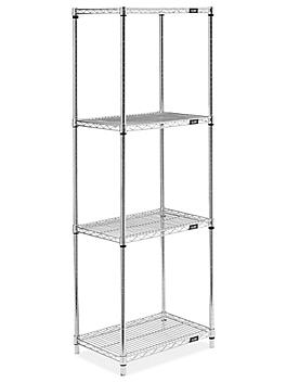 """Stainless Steel Wire Shelving Unit - 24 x 18 x 72"""" H-9205"""
