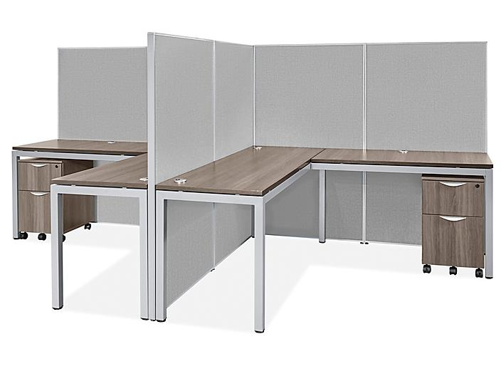 """Downtown Privacy Workstation - 2-Person, 62"""" Height H-9208-62"""