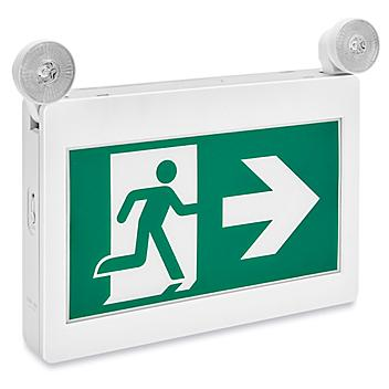 Running Man Hard-Wired Exit Sign - Plastic with Lights, Green H-9283