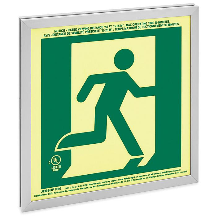 Glo Brite® Exit Sign - Running Man, Single Sided, Green H-9409