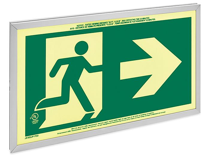 Glo Brite® Exit Sign - Running Man, Double Sided, Green H-9410