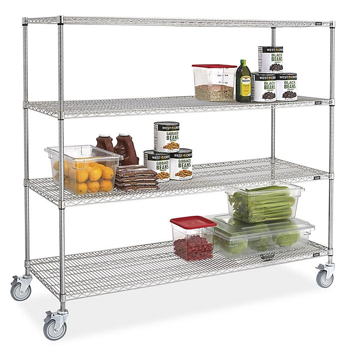 """Stainless Steel Mobile Shelving - 72 x 24 x 69"""" H-9488"""