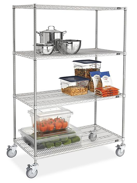 """Stainless Steel Mobile Shelving - 48 x 24 x 78"""" H-9489"""