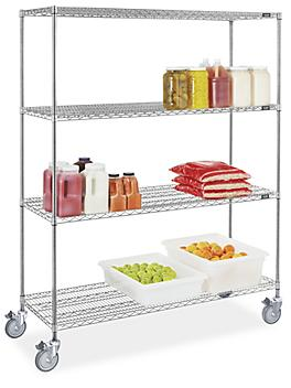 """Stainless Steel Mobile Shelving - 60 x 24 x 78"""" H-9490"""