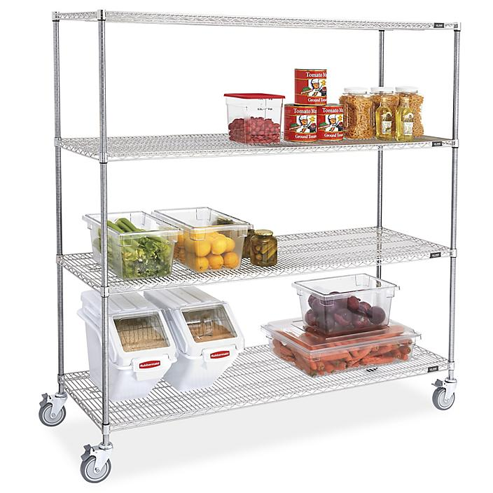"""Stainless Steel Mobile Shelving - 72 x 24 x 78"""" H-9491"""
