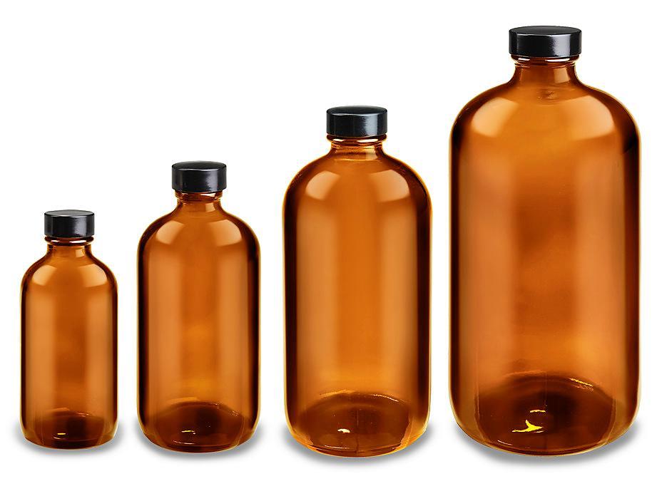Amber Boston Round Glass Bottles