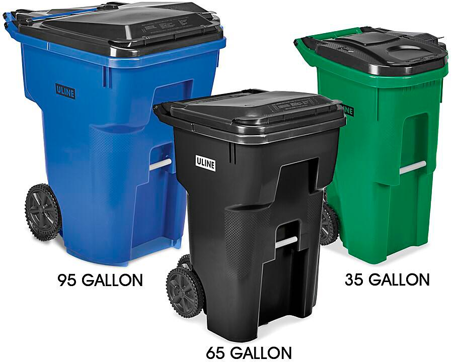Uline Trash Cans with Wheels