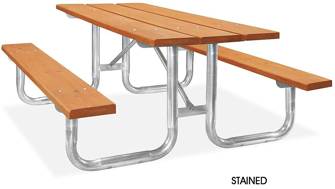 Wood Steel Frame Picnic Tables