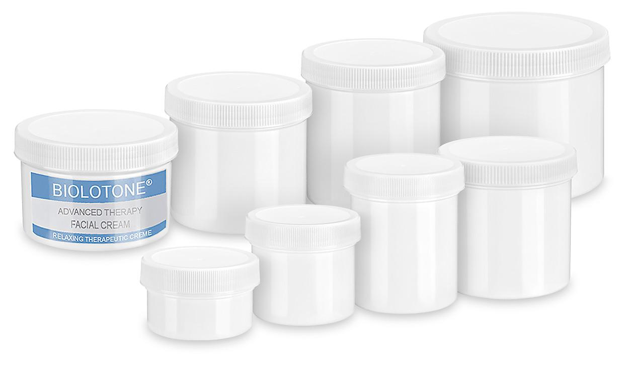 White Round Wide-Mouth Plastic Jars