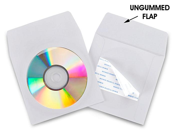 "Paper CD Envelopes - 5 x 5"", White, Adhesive Backed S-10399"
